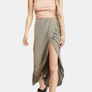 Free People Skirts - Free People Smoke and Mirrors Midi Skirt Green NWT
